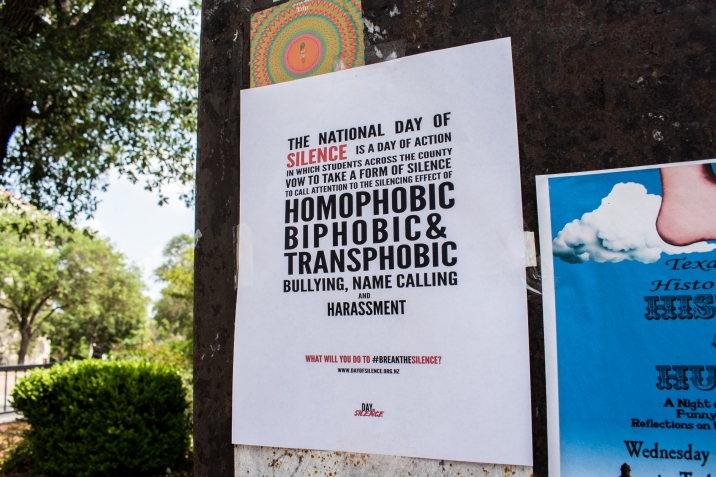 Day of Silence flyer posted on a board in Texas State's Quad.