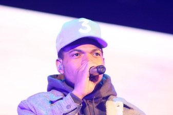 A close-up of Chance the Rapper performing at Red Rocks.