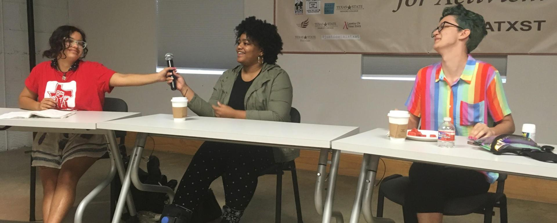 Claudia Gasponi, Cassidy Wright, and Monica Richerson discuss campus activism.