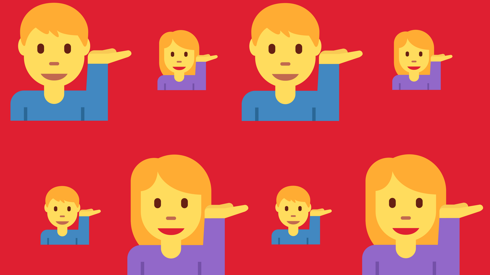 Alternating male and female emoji people tipping their right hands on a red background.