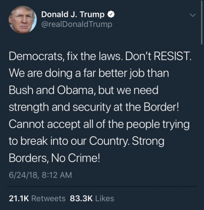 This tweet is relevant to the article because it shows how President Donald Trump has different views than previous President Barack Obama when it comes to the discussion of immigration.