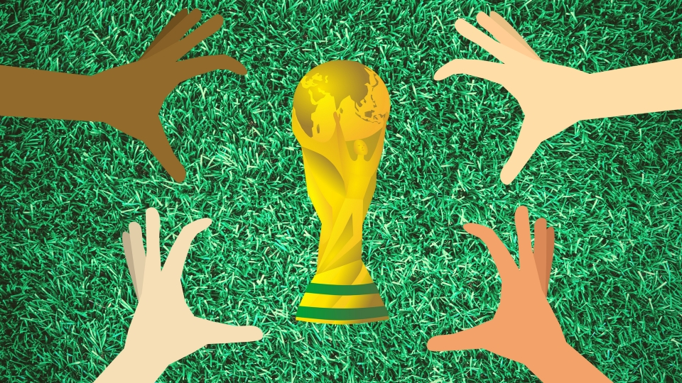 Four different hands reach for the FIFA World Cup trophy.