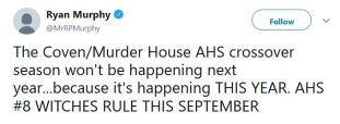 Ryan Murphy tweeted that there will be a crossover season on American Horror Story.