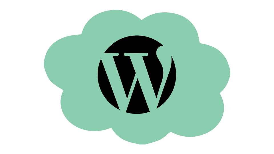 The WordPress icon in a thought bubble