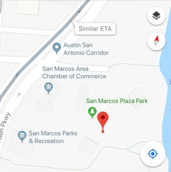 A screenshot of a map giving directions of San Marcos Plaza Park.