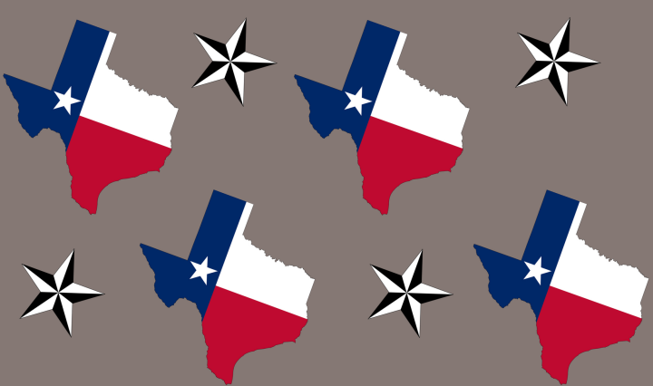 A collage of shapes of Texas and nautical stars on a gray background.