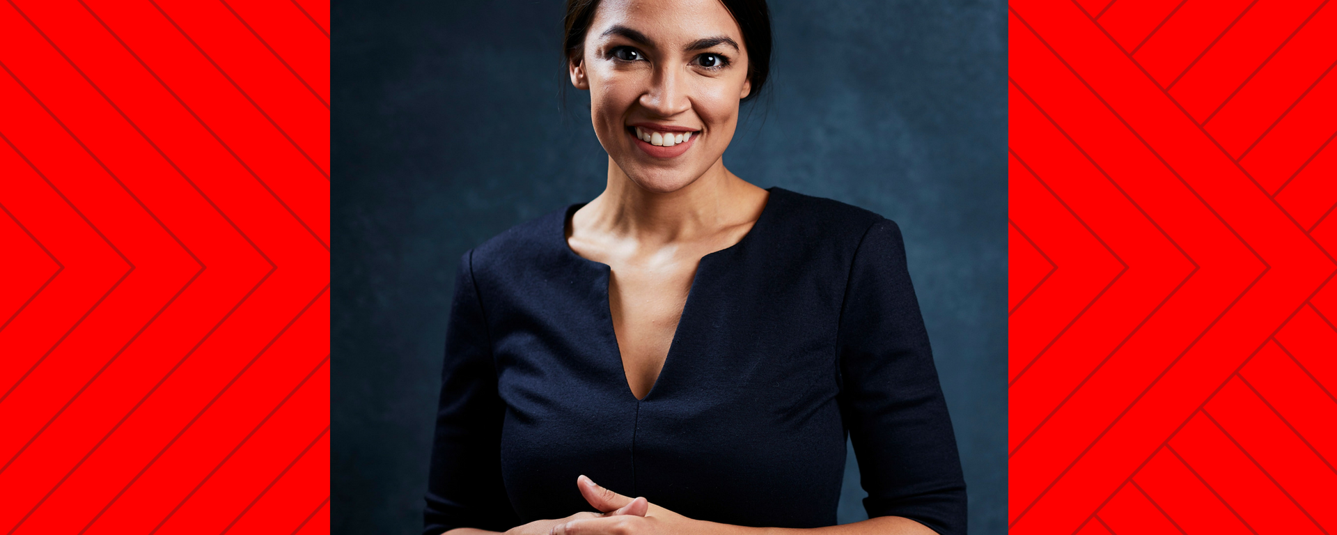 A portrait of Alexandria Ocasio-Cortez on red background.