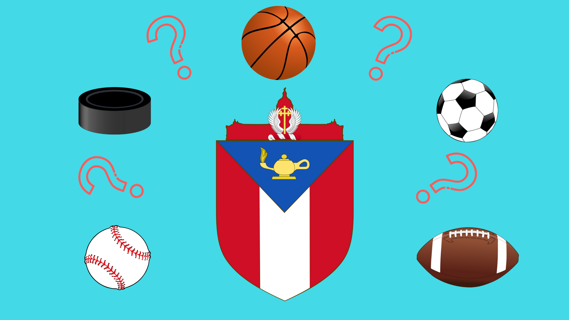 A image of the seal of Austin, Texas, surrounded by question marks and potential sports.