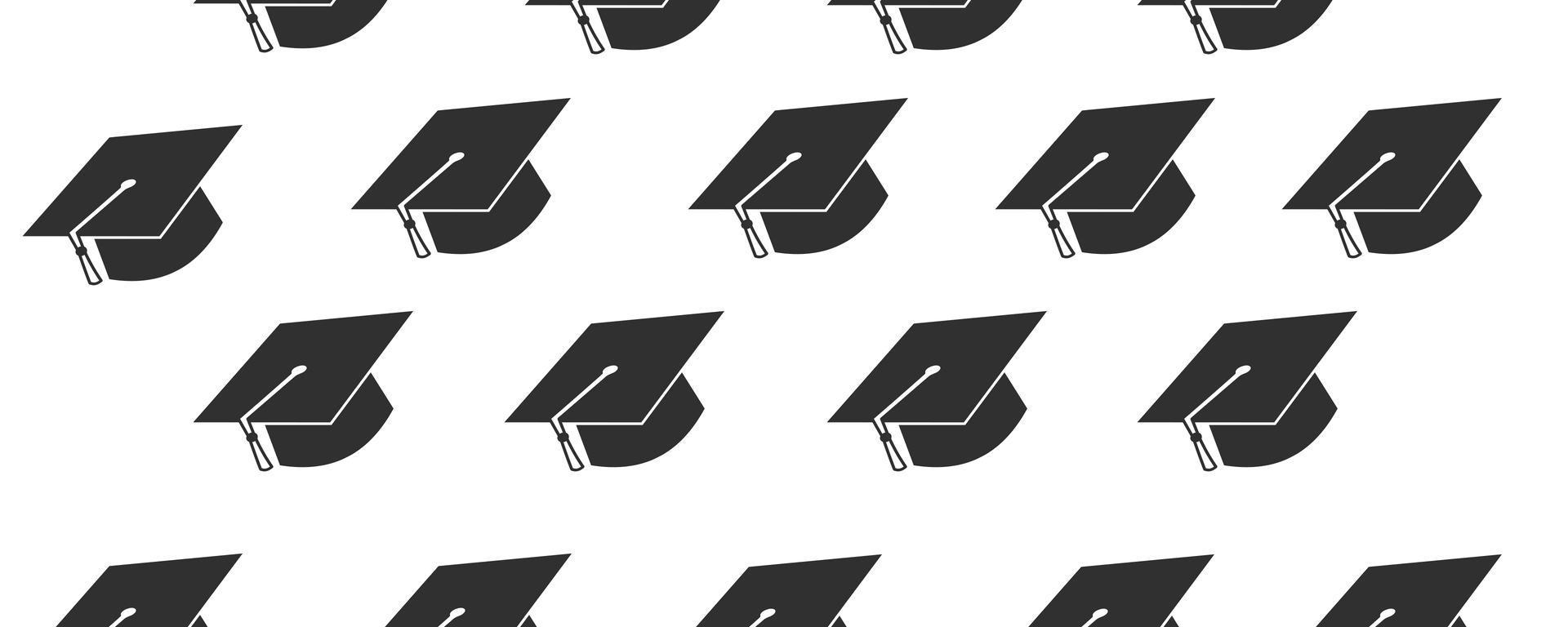 a pattern of black graduation caps on a white background