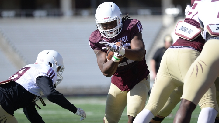Texas State University's running back, Anthony D. Taylor during a scimmage.