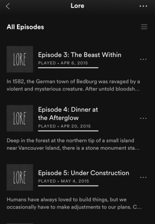Lore Podcast list of episodes three, four, and five.