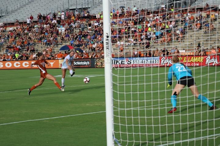 Junior Kaylee Davis scores a perfect goal.