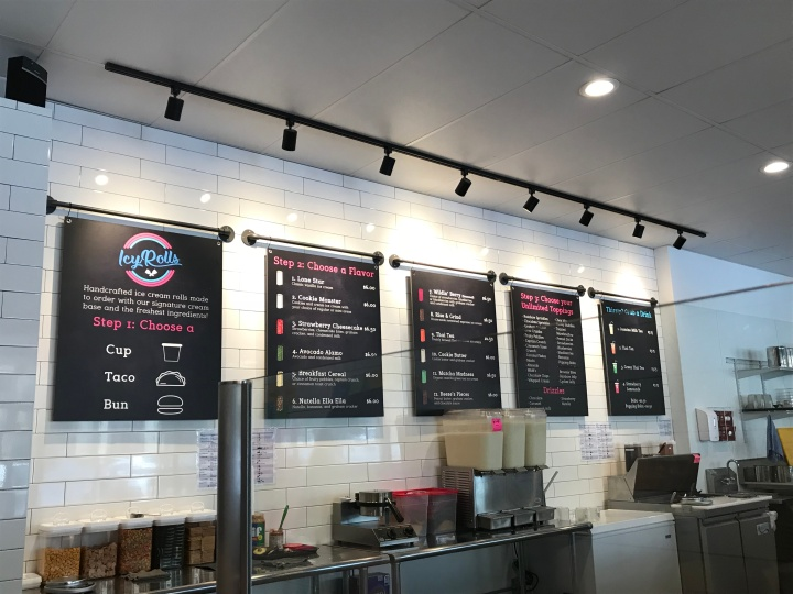 The menu boards at Icy Rolls of San Marcos, TX.