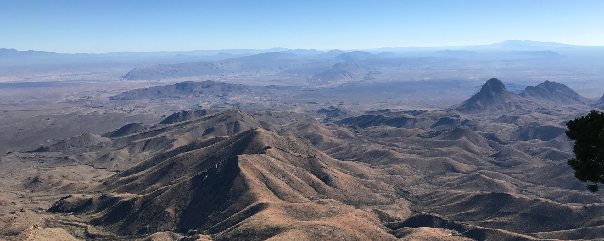 An image of the mountains from a lookout at Big Bend National Park in Texas.