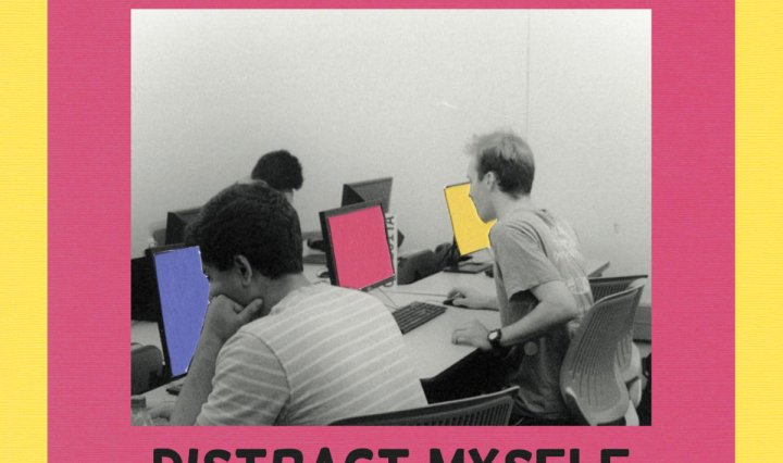 Three men sitting at computers with blank colored backgrounds.