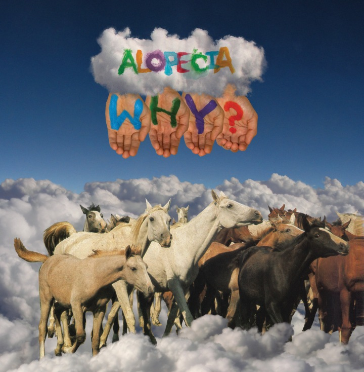 "Several horses on a backdrop of clouds with ""WHY?"" painted on four hands."