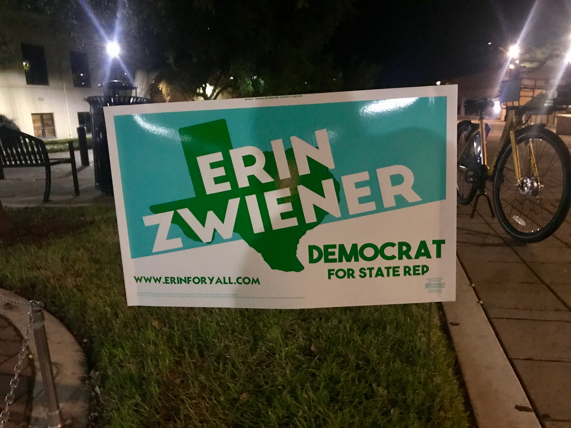 Erin Zwiener's name on a green Texas and blue background.