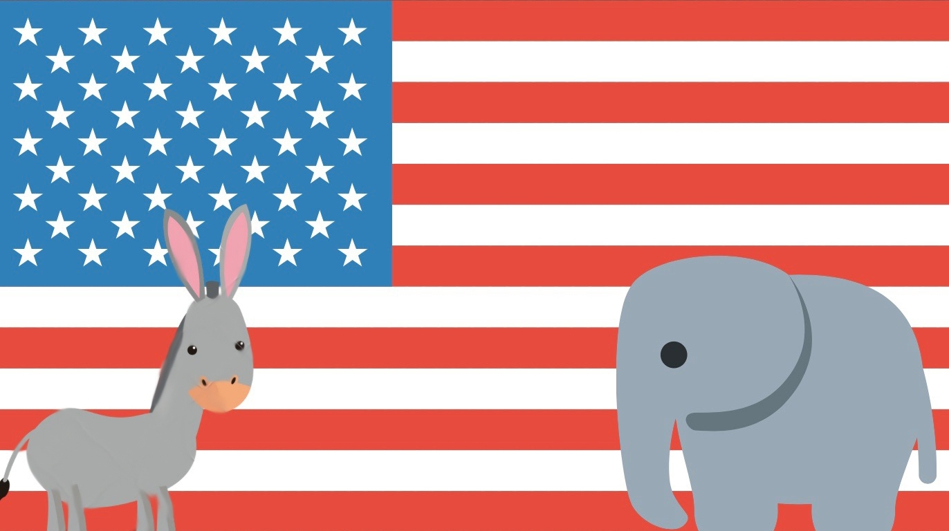 A donkey and elephant on an American flag