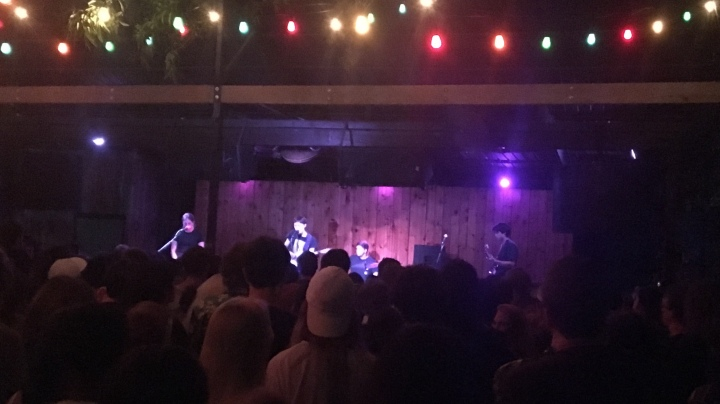 Frankie Cosmos performing to a large crowd