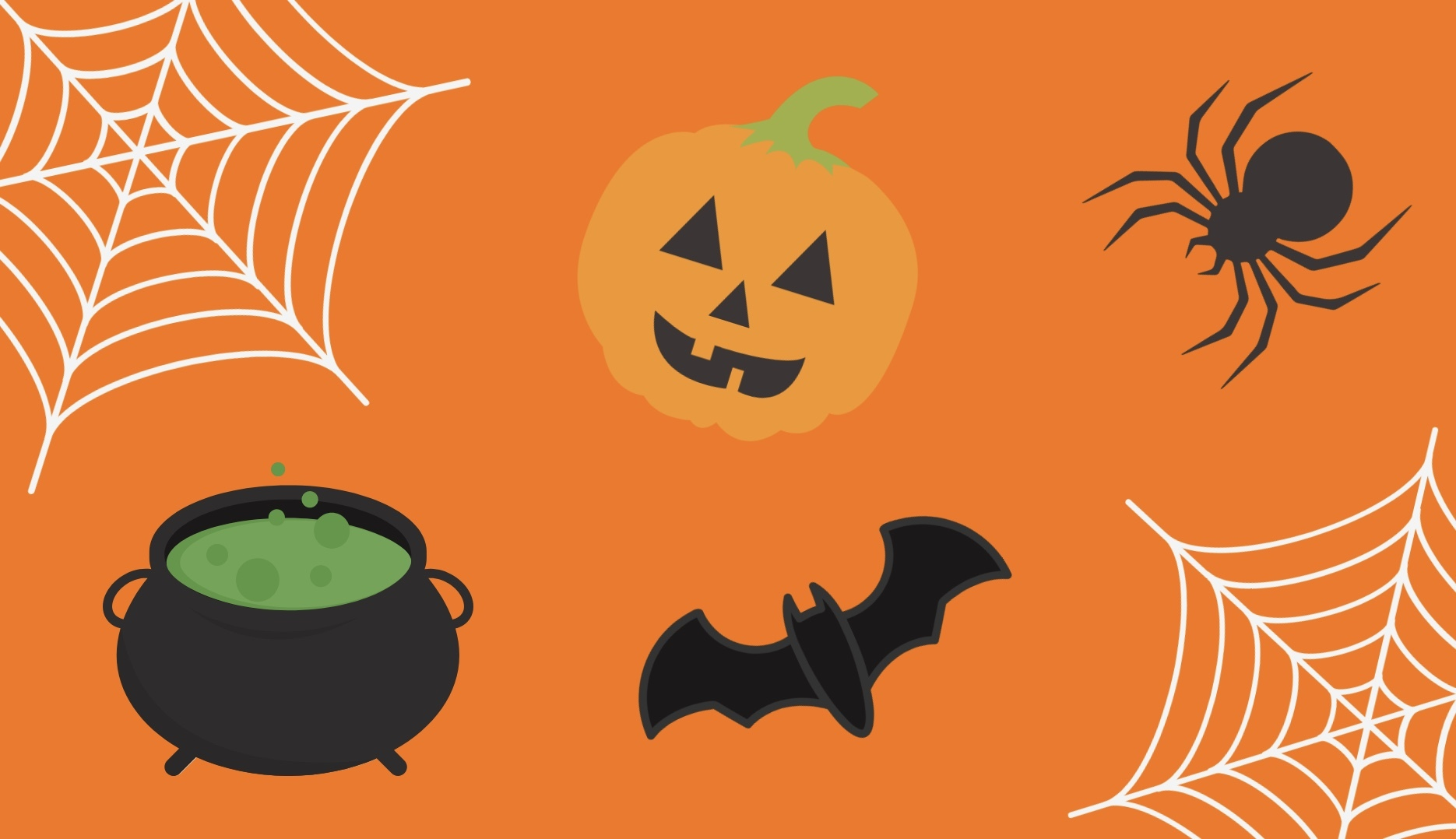The illustration consists of an orange background with several cartoon-like graphics scattered throughout: two spider webs, a spider, a bat, a cauldron with green, bubbling liquid and a pumpkin with a smiling face.
