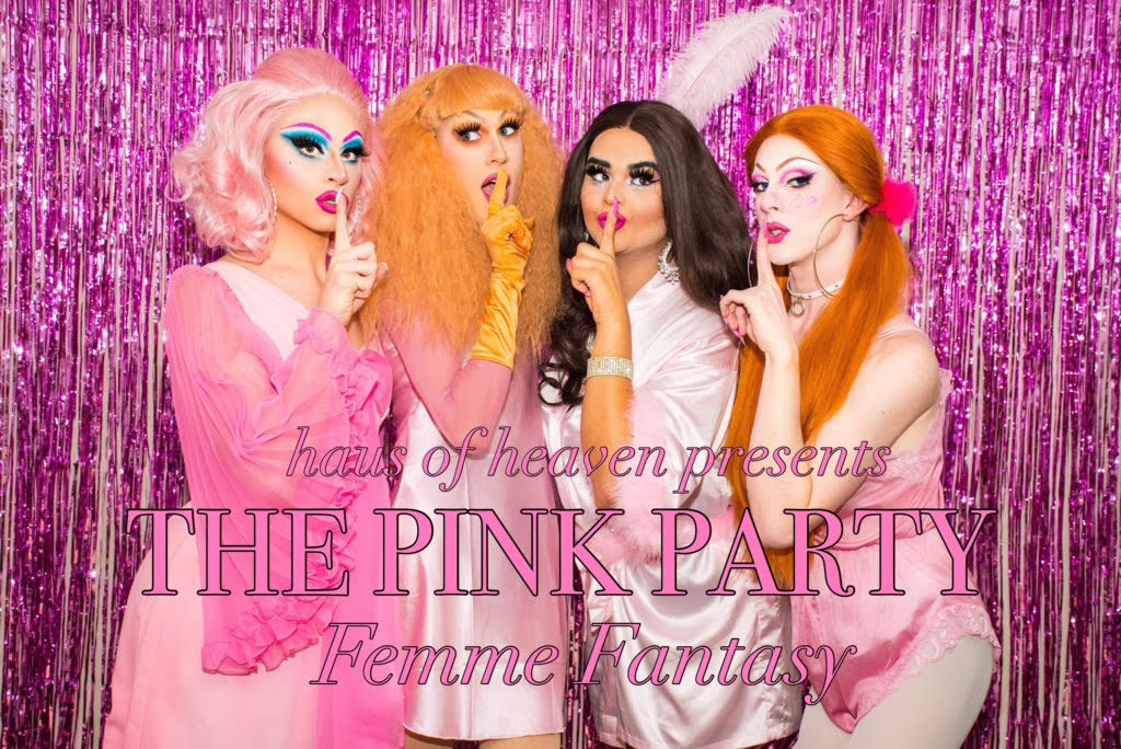 Four drag queens in pink with their fingers over their lips.