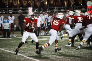 Bobcat offense players during the homecoming game.