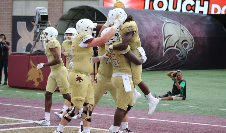 Texas State Offense Celebrates a Touchdown
