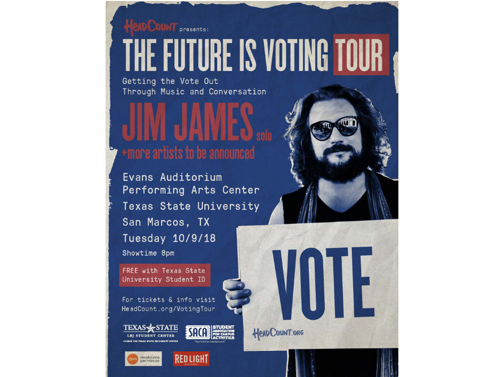 "Jim James holding a sign that says ""vote"" on a blue background."