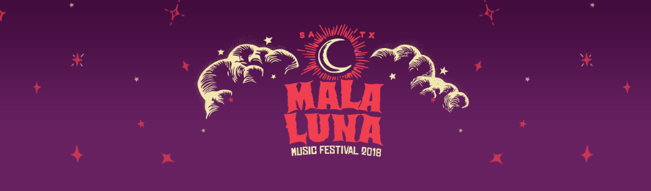 "The words ""Mala Luna"" in orange on a purple banner with hand-drawn clouds and a moon."