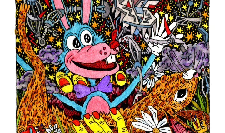 A vibrant, busy image centered on a cartoon, anthropomorphic rabbit bursting out of a more realistically drawn rabbit's chest.
