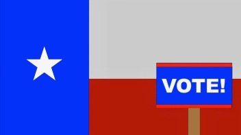 A voting sign on a Texas Flag