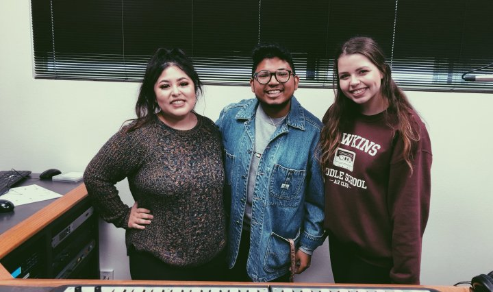 April Gutierrez, Alex Garcia, and Lexi Ashbury in the on-air studio.