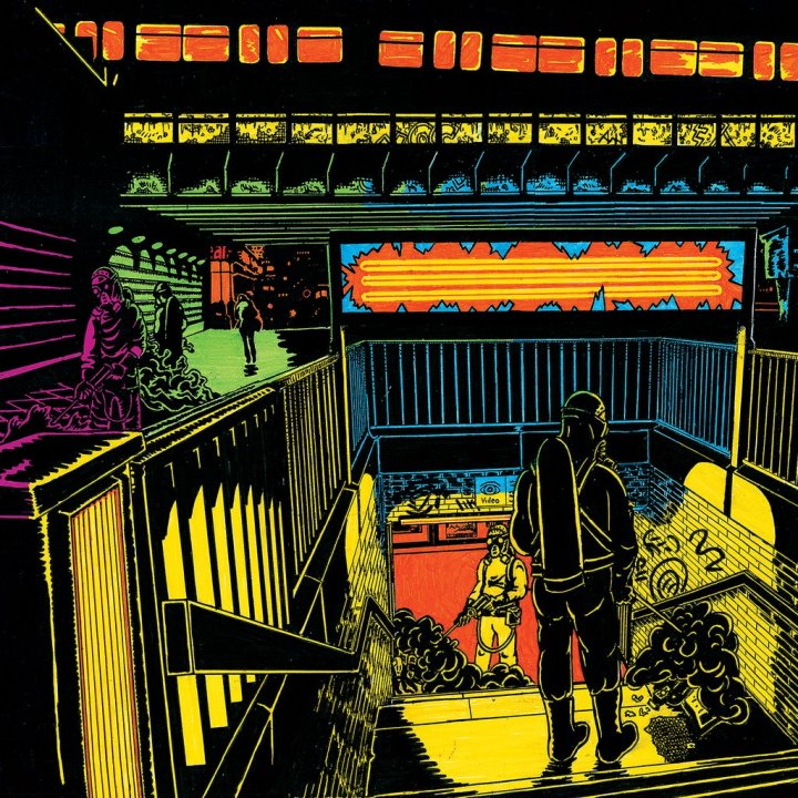 neon colored album art for Adverse Habitat albumq