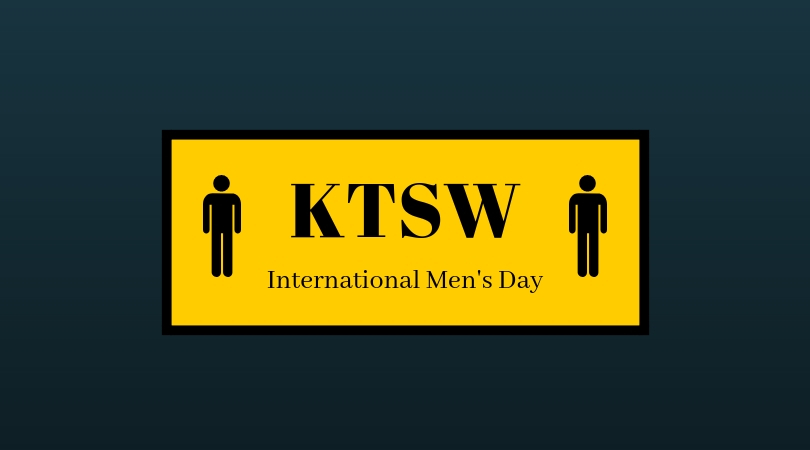On a blue background, a yellow square with two silhouettes of the men's symbol. Text: KTSW, International Men's Day