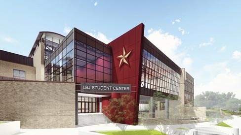 The LBJ Student Center rendering of the future South Entrance of the facility.