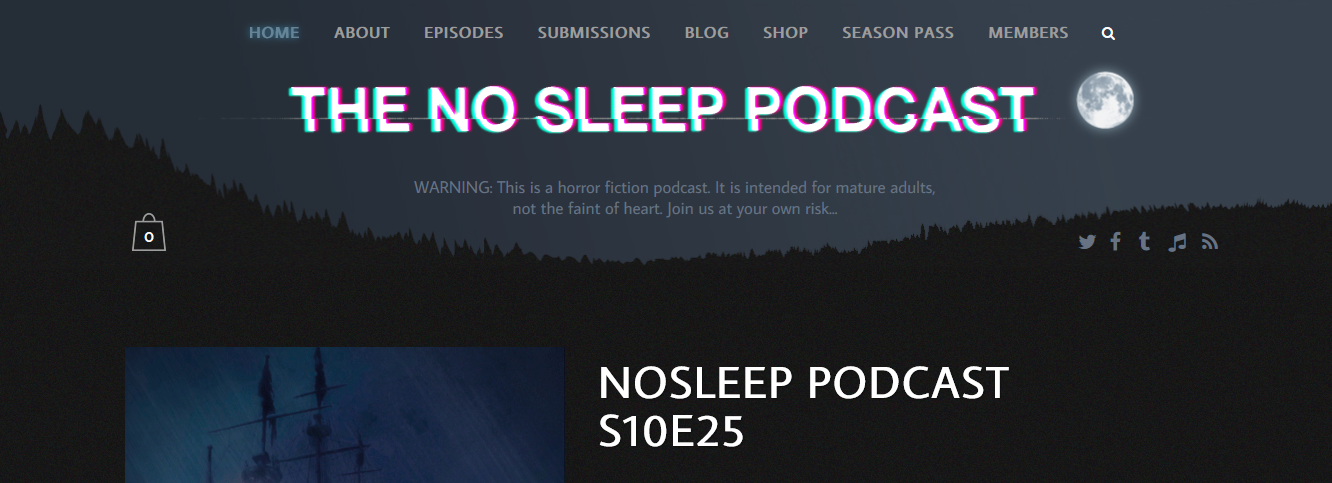 "An image of text that say ""The NoSleep Podcast"" and a moon on the right side of the website"