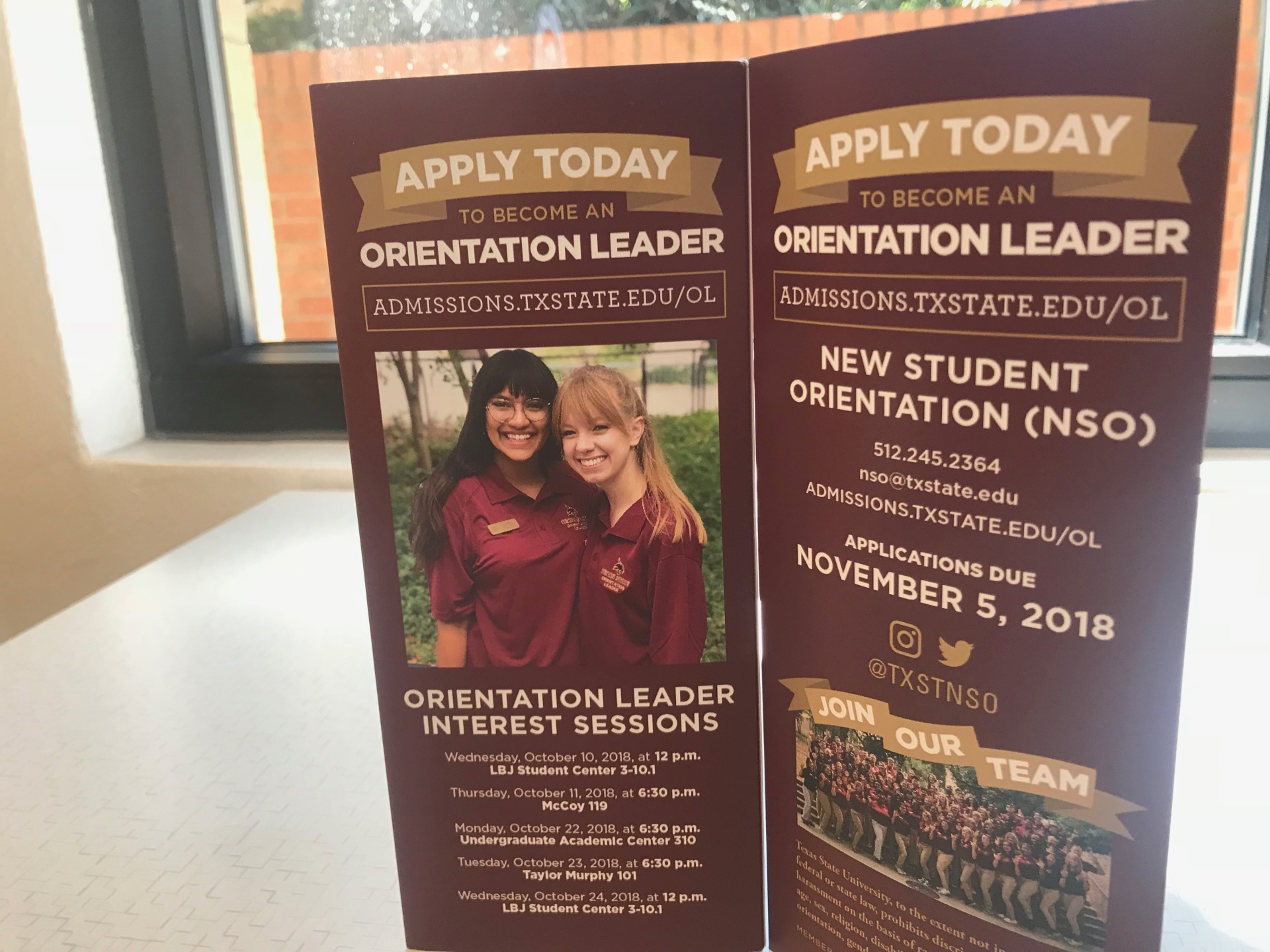 an orientation brochure that says apply today