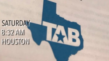 The program for the Southwest Broadcast Newsroom Workshop, with a blue outline of Texas and the abbreviation for TAB.