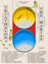 Tour poster featuring two large yellow and blue circles for Triathalon and the Marías fall 2018 tour.