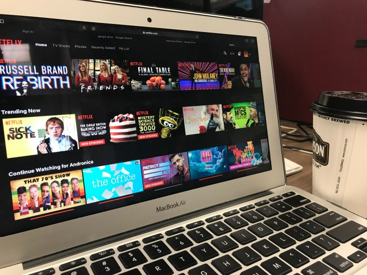a computer screen showing the homepage of the Netflix website.
