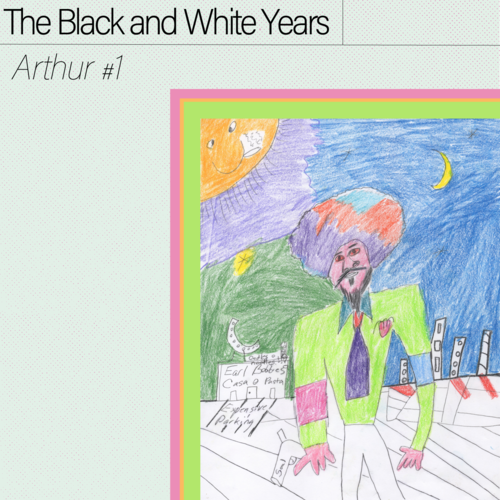 A man with large, colorful hair and a bright green shirt standing in front of a moonlight city scene. The art is crudely drawn with colored pencils takes up the bottom right quadrant of the artwork. The top right simply displays the band's name and EP title.