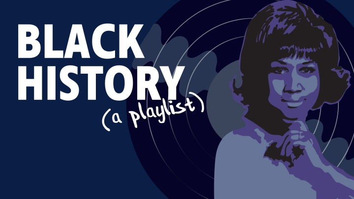 An illustration of the late Aretha Franklin with a purple background and vinyl record behind with the text Black History (a playlist) in the upper left.
