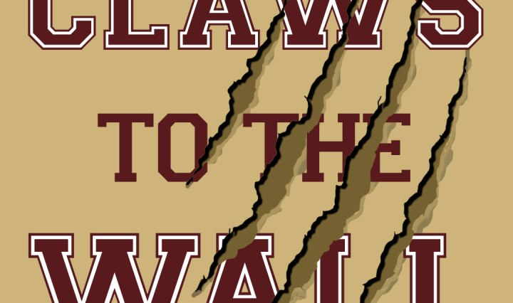 Claws to the Wall in maroon block font with claw marks through it.