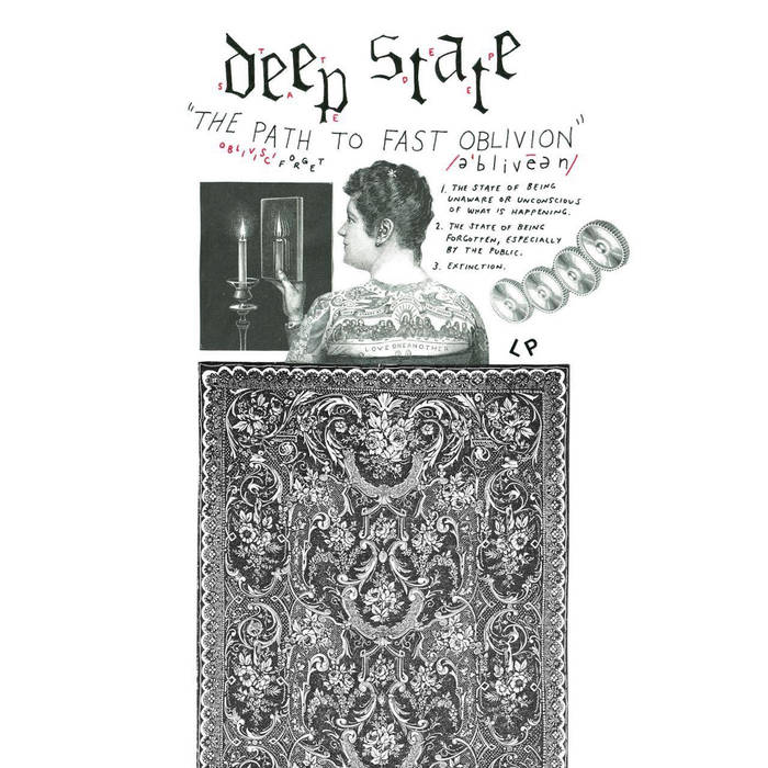 From top to bottom, the band's name, the various definitions of the word oblivion, a man, to his right a row of gears, to his left a candle and a mirror, and an oriental style rug below.