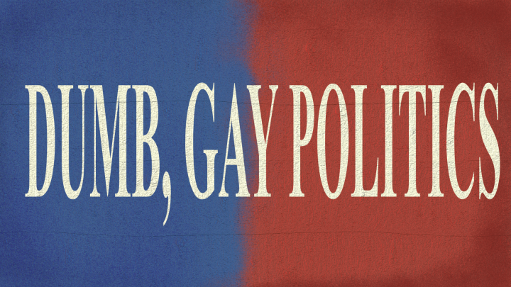 """Back drop, half blue and half red on a concrete texture. """"DUMB, GAY POLITICS"""" in peach letters is centered on the image."""