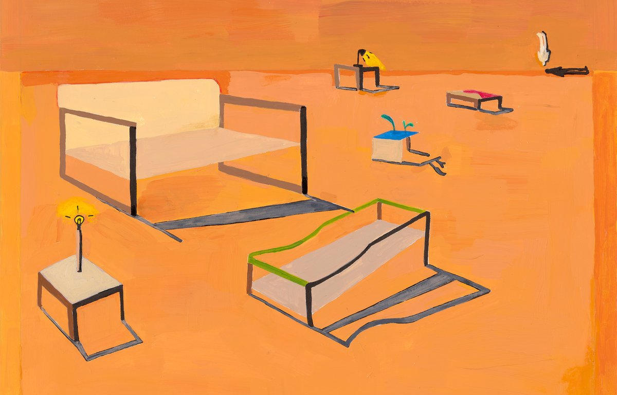 A painting of an orange landscape with several abstract objects placed throughout.
