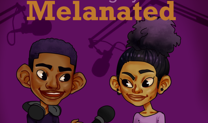 A drawing of a young black man and woman with microphones and headphones.