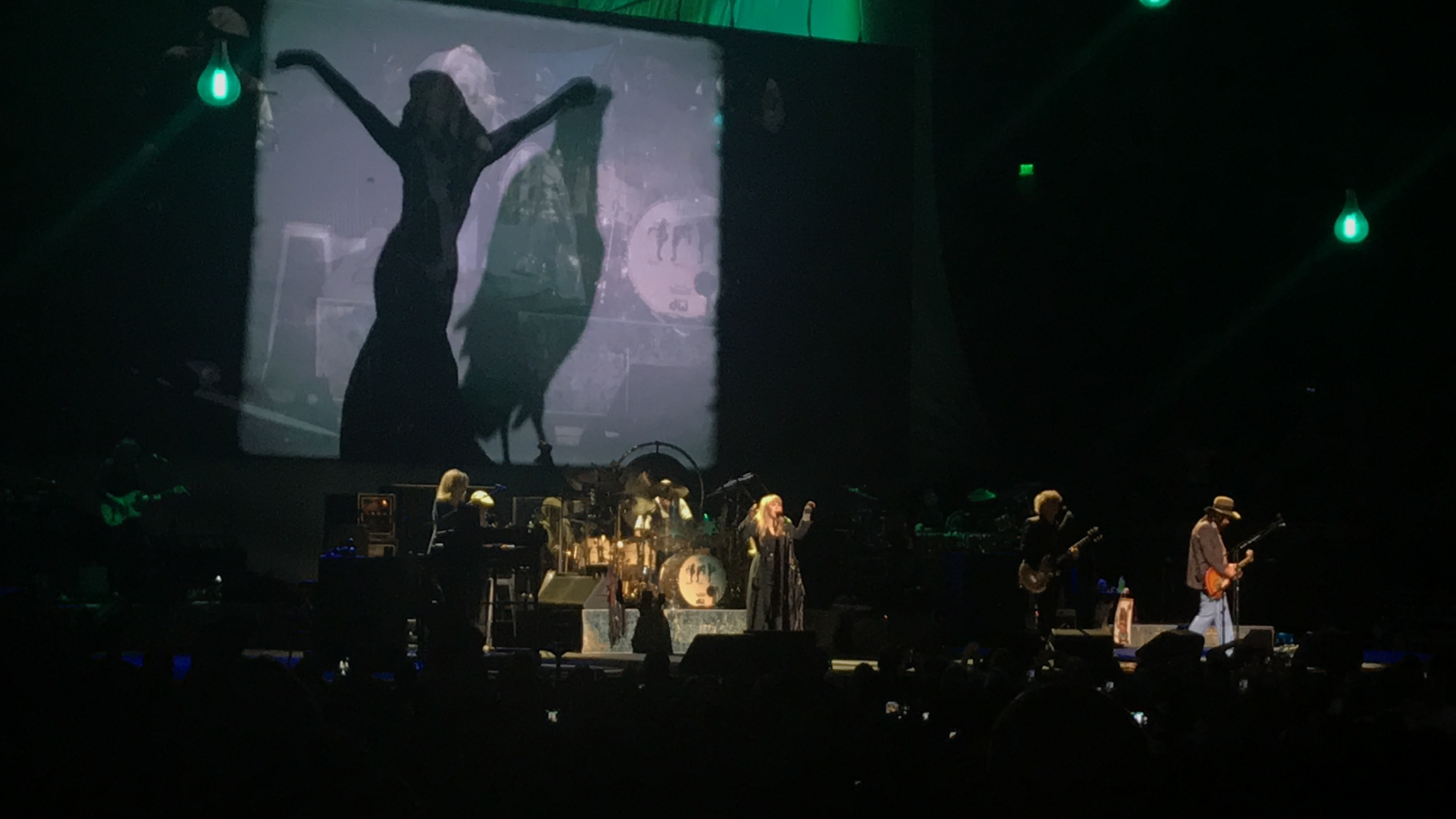 The background screen shows the silhouette of a girl dancing and a raven. Stevie Nicks is in the middle singing with her arms reached to the sky, to her left Christine McVie plays the keyboard, and to her left Mike Campbell plays guitar.