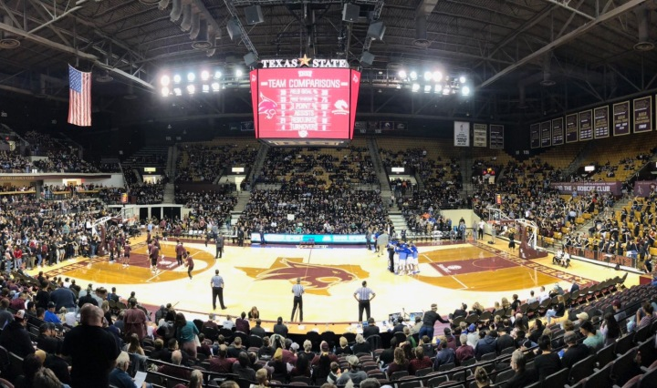 A wide shot of packed Strahan Arena at the Texas State vs. UT Arlington game.