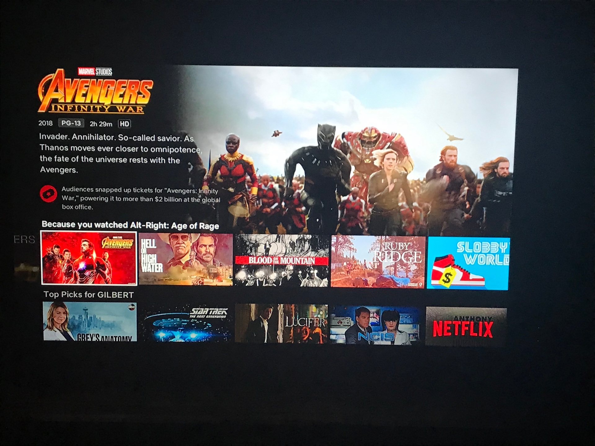 The top banner is Avengers: Infinity War with the lower banner with recommended movies